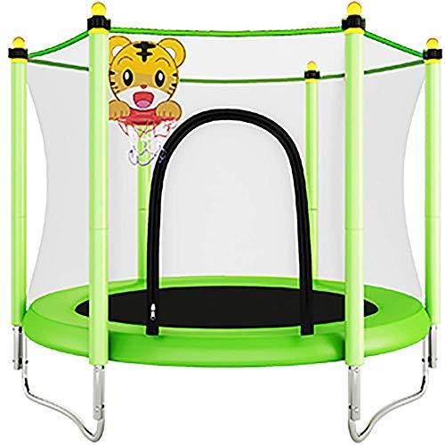 JY&WIN Ejercicio de trampolín para niños: con 150 kg, Canasta y Red, los niños están más Seguros y Felices de Jugar.Ayude a los niños a Saltar a Mano.Verde Normal