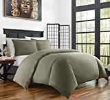 Zen Bamboo Ultra Soft 3-Piece Rayon Derived From Bamboo Duvet Cover Set -Hypoallergenic and Wrinkle Resistant - Full/Queen - Olive