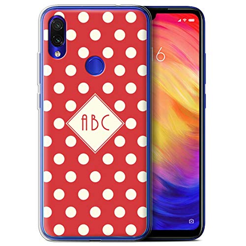 Personalizado Polka Dot Lunares Personalizar Funda TPU/Gel para el Xiaomi Redmi Note 7/7 Pro/7S / Rojo Diseño/Inicial/Nombre/Texto Carcasa/Estuche/Case