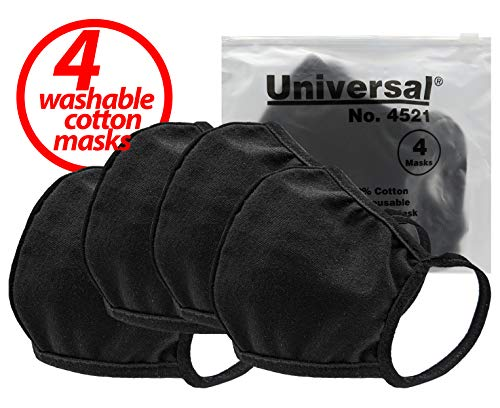 Universal 4521 Cloth Face Masks – Reusable Nose & Mouth Mask, 100% Cotton, 2 Layer, Washable Facemask, Teens & Adults – Protects from Dust, Pollen, Pet Dander & Other Irritants (Single Pack = 4 Masks)