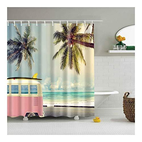Beach douchegordijnen vormbewijs Resistant Washable Bad Gordijn for Badkamer met 12st Haken Anti-schimmel Polyester stof Home Decor (Color : Bus, Size : 180x180cm)