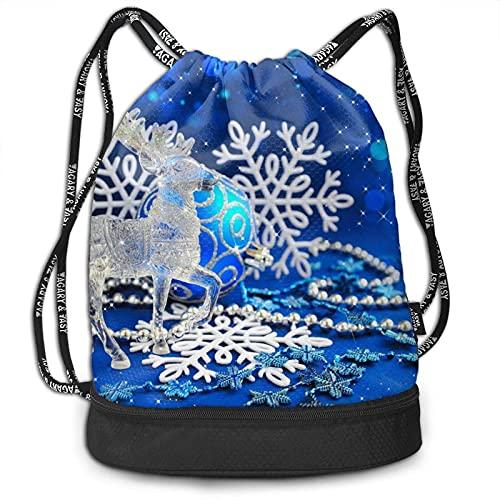 Yuanmeiju Mochila con cordón, reno de cristal, estampado navideño, deporte, viaje, gimnasio, paquete, mochila