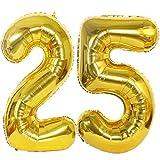 2 Ballons Numero 25 Or, Ouceanwin Géant Ballon Chiffre 25 Numero Ballons Feuille 40 Pouces Helium Ballons Gonflable pour 25 Ans Anniversaire Décorations de Fête Garçon Filles (100cm)