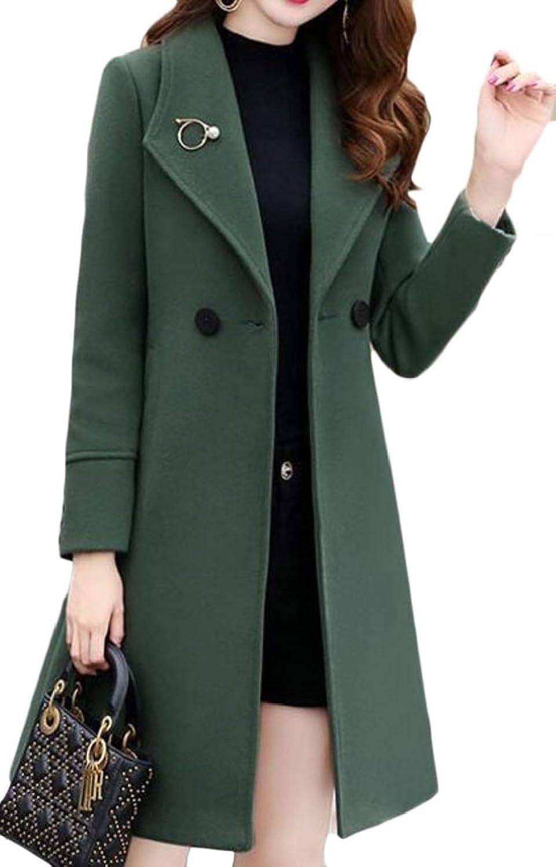 WofupowgaCA Women Slim Fit DoubleBreasted Overcoat WoolBlend Lapel Pea Coat Jacket
