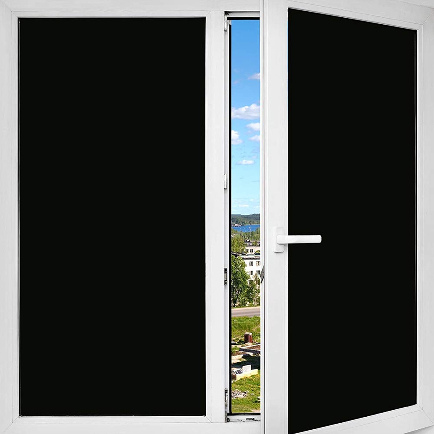 BDF 1BKOT Window Film Blackout (Non Adhesive Static Cling) 100% Light Blocking  Easy Inssizetion, Removal & No Residue  36in X 24ft