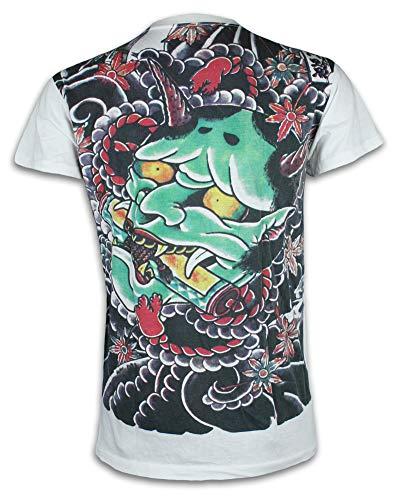 Ako Roshi Camiseta Hombre Demonio Talla M L XL Japón Artes Marciales Tatuaje Irezumi Hannya Buda Akuma