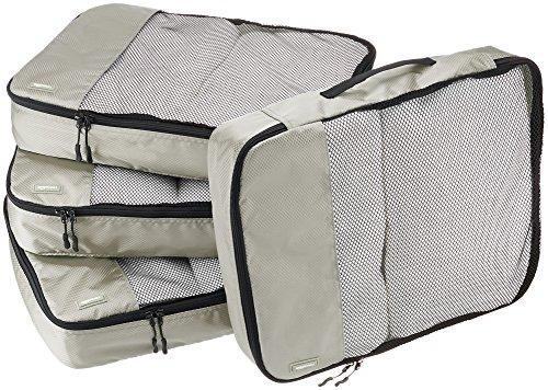 Amazon Basics Große Kleidertaschen, 4 Stück, Grau
