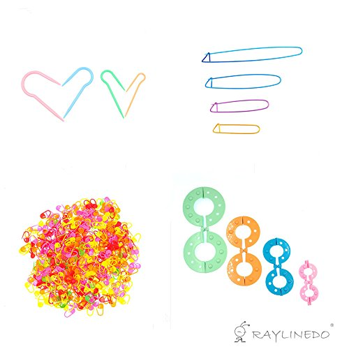 RayLineDo Knit Stitch Holders Cable Needles And 4-Size Pompom Maker Fluff Ball Weaver And Knitting Aluminum Crochet Pin with 100PCS Knitting Markers Crochet Tool Craft Hook Tool