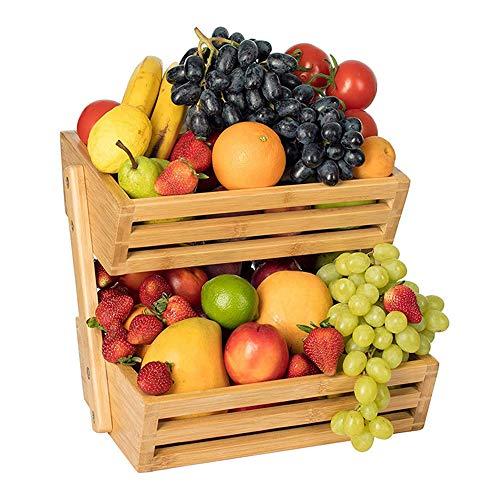 Canasta de Frutas de Bambú, Estante de Verduras/Mantiene las Frutas y Verduras Frescas, Estantes de Frutas para Encimera de Cocina, Soporte de Almacenamiento de Pan de Frutas y Verduras