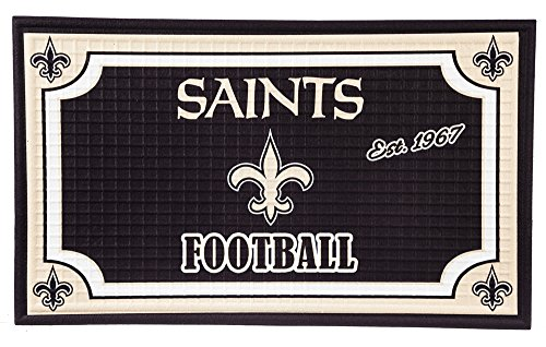 Team Sports America NFL New Orleans Saints Embossed Outdoor-Safe Mat - 30 W x 18 H Durable Non Slip Floormat for Football Fans
