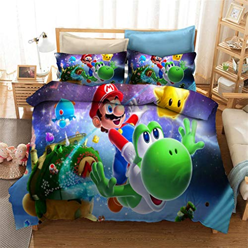 Super Mario Bros Bedding Single Double King Duvet Cover Bed Set,with Microfiber Pillowcases & Zipper Closure Quilt Case Printed Effect for Boy Gir (Mario 11,Double)