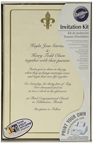 WILTON 50-Count Invitation Kit - Ivory Fleur De Lis - Gold Emboss