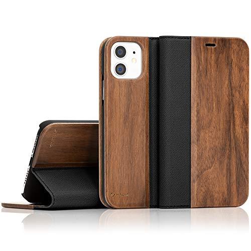 NALIA Echt-Holz Flipcase kompatibel mit iPhone 11 Hülle, Premium Wood Etui Handyhülle mit Klappe, Handy-Tasche Phone Hülle Cover Schutzhülle Flipcover Klapphülle, R&um Wallet Schutz Bumper - Walnuss