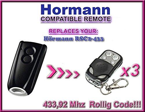 3x Hörmann RSC2–433/Hormann RSC2–433Kompatibel Fernbedienungen, Ersatz 433,92MHz, 3Stück für die besten Preis.