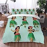 Mingdao Bedding Juego de Funda de Edredón -Chicas Hawaianas Bailando Hula/Microfibra Funda de Nórdico (Cama 135 x 200 cm + Almohada 50X80 cm)