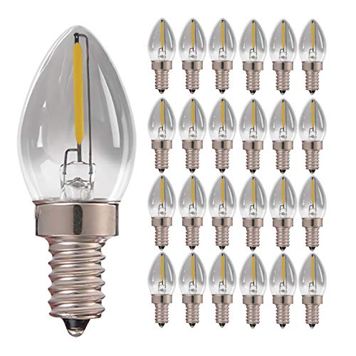 GHKLGTY Smoky Gray Led Edison Bulb,Retro Tungsten Filament Bulb,0.5W E14 4000K Is White Mini Small Night Lights,Suitable for Decoration of Home, Holiday, Party, 25pcs