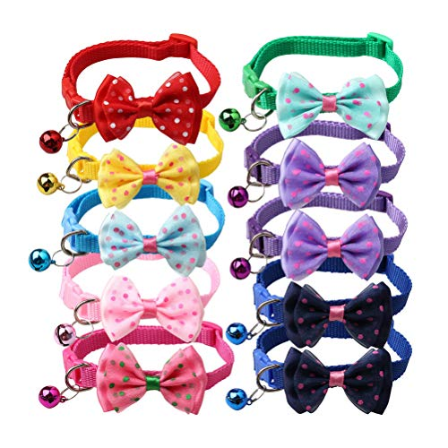 kuou 10 Pieces Cat Collars, Adjustable Cat Safety Collars Quick Release...