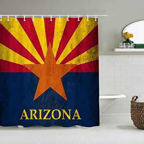 YOLIKA Duschvorhang,Grunge Arizona Flagge,personalisierte Deko Badezimmer Vorhang,mit Haken,180 * 180