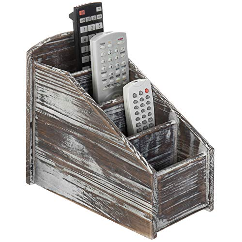 MyGift 4-Slot Torched Wood Remote Control Storage Caddy/Media Organizer Rack