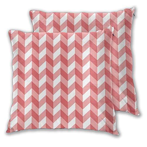 FULIYA Fundas de almohada decorativas de 2 piezas, diseño abstracto geométrico de rayas con zigzag triangular, 40,6 x 40,6 cm, fundas de almohada con cremallera