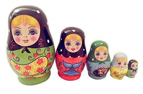 Happy Cherry 5pcs Russische hölzerne Schachtelung Puppen handgemacht Mädchen Matryoshka Puppe 5-tlg Mädchen Matryoshka Puppe 12 * 5 CM