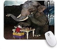 ZOMOY マウスパッド 個性的 おしゃれ 柔軟 かわいい ゴム製裏面 ゲーミングマウスパッド PC ノートパソコン オフィス用 デスクマット 滑り止め 耐久性が良い おもしろいパターン (面白い動物の象とマウスのチェス)