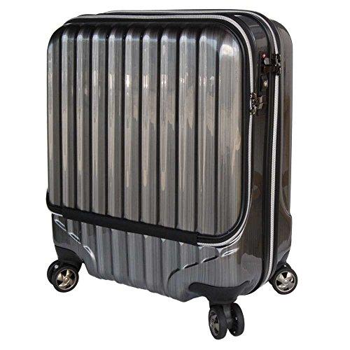 OUTLET スーツケース 機内持込 MAX 40l 軽量 小型 フロントオープン ダブルファスナー 8輪 S 【W-Receipt】 キャリーケース キャリーバッグ 前ポケット (Sダブルキャスター-40L, ヘアライン/ブラック)