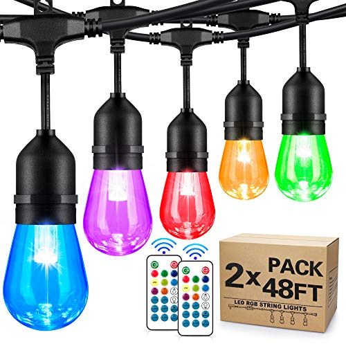 2-Pack 48FT Colored Outdoor String Lights, RGB Cafe LED String Light with 30+5 E26 Shatterproof Edison Bulbs Dimmable, Commercial Light String for Patio Backyard Garden, 2 Remote Control, 96FT