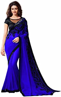 Indian Handicrfats Export Embroidered Bollywood Georgette Saree (Blue)