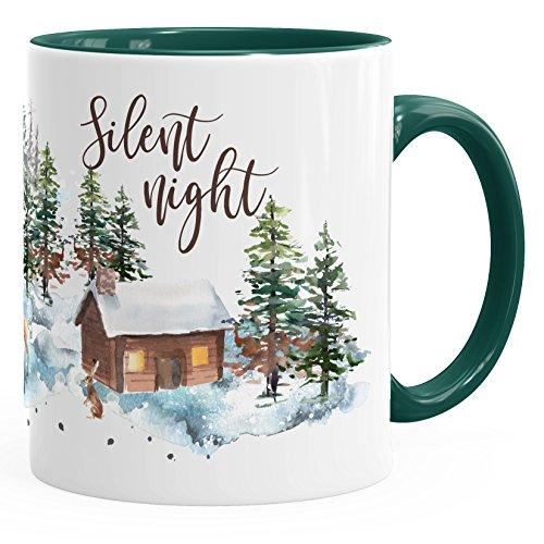 Autiga Tasse Weihnachten Winter Schnee Silent Night Christmas Weihnachts-TASE Kaffeetasse Teetasse Keramiktasse grün Unisize