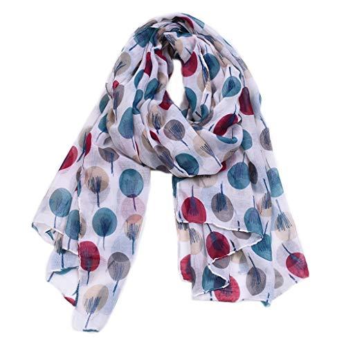 JIACUO 175x92cm Vrouwen Strand Zonwerende Voile Lange Sjaal Zomer Lichtgewicht Hoofd Wraps Deken Kleurrijke Polka Dot Sketch Boom Gedrukt Hijab Sjaals