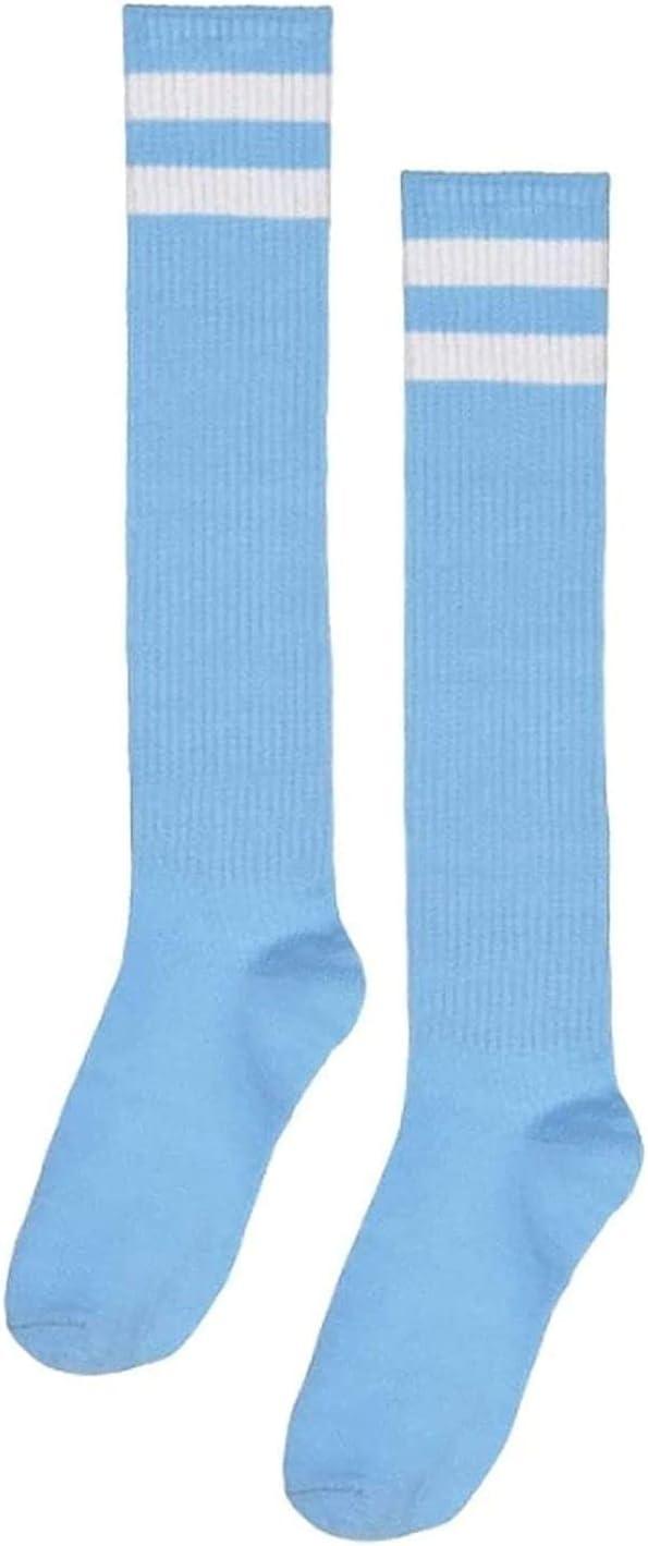 Amscan 395892.87 Light Blue Knee High Socks with White Stripes, 19