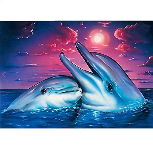 Volledige diamant 5D diamant schilderij geluksbrenger dolfijn dieren borduurwerk kruissteekset zee zonsondergang schilderij living decor 45x60cm/18x24in