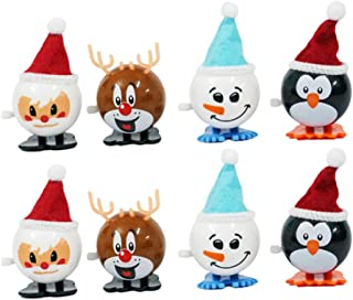 Healifty 8pcs Christmas Wind Up Toy Santa Deer Penguin Snowman Clockwork Toy Walking Toy Gift Goody Bag Fillers for Kids