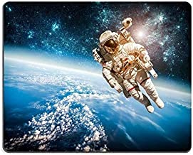 Space Planets mouse pad, Natural Rubber Gaming Mousepad Astronaut in outer space against the backdrop of the planet earth Elements of this furnished