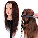 HAIREALM Mannequin Head 100% Human Hair Hairdresser Training Head Manikin Cosmetology Doll Head (Table Clamp Stand Included) HA0418P