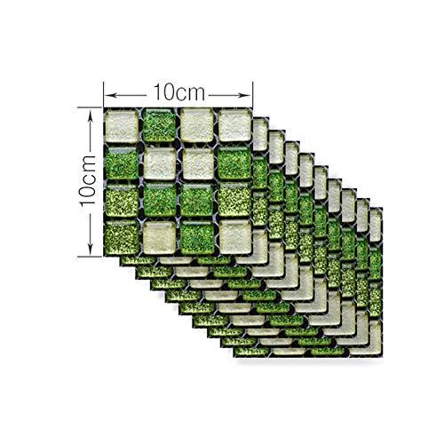 DIY COCINA CABEZA DE BAÑO Pegatina de azulejo para el hogar 10 unids / Set Vintage Mosaic Mosaic Tile Etiqueta Etiqueta Etiqueta Afermeable Piso autoadhesivo Calcomanías ( Color : G , Size : 10x10cm )