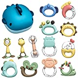 Baby Rattle Sets Teether Rattles Toys, Tinabless 13 Pcs Infant Grab Shaker and Spin Rattle Toy Early Educational Toys with Whale Gift Box for 3, 6, 9, 12 Month Newborn Girls, Boys