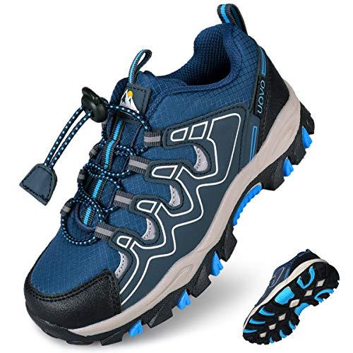 UOVO Turnschuhe Jungen Wanderschuhe Sneakers Kinder Trekking Schuhe Outdoor Sportschuhe Laufschuhe Blau 32