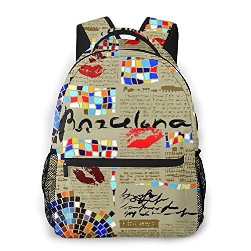 USOPHIA Zaino casual,Imitazione Di Giornale Di Barcellona Con,Zaino Business Daypack per uomo donna adolescente 16'X11.5'