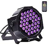 U`King - Faro nero a LED UV 3 W x 36 LED, con telecomando e comando DMX, luce notturna per...
