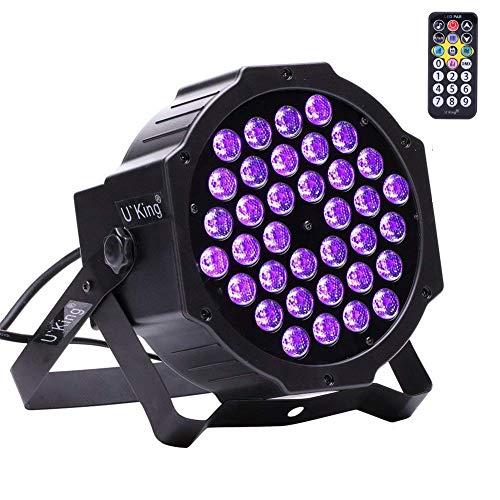 U`King Schwarzlicht 2W X 36leds UV LED Strahler PAR Lichter mit Fernbedienung und DMX Steuerung Glow in der Dunklen Partylight für DJ Disco Hochzeit Bühnenbeleuchtung