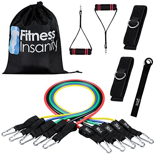Veick Resistance Bands Set – Include 5 Stackable Exercise Bands with Door Anchor Attachment, Legs Ankle Straps, Portable Carry Bag and Bonus eBook – 100% Life Time Guaranteed