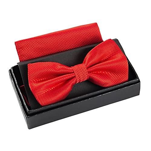 Massi Morino Pajarita con pañuelo en caja de regalo I pajarita hecha de microfibra I moño de diseño ajustable con pañuelo a juego con el color (Rojo)