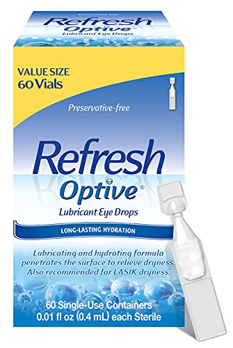 Refresh Optive Lubricant Eye Drops, Preservative-Free, 0.01 Fl Oz Single-Use Containers, 60 Count