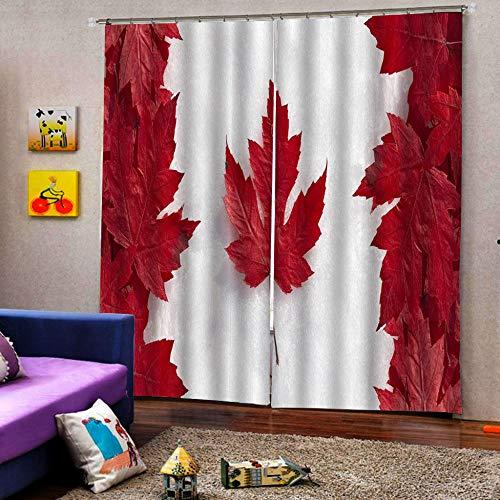 3D Isolierung Schattierung Vorhänge Rotes Ahornblatt 2 Panel fit Kinder Vorhänge Für Wohnzimmer Schlafzimmer Blackout Kinderzimmer Vorhänge 220x215cm
