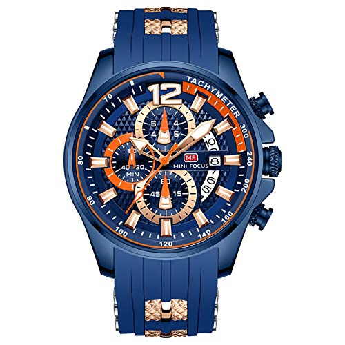 JTTM Herren Schwarz Uhren Männer Militär Wasserdicht Sport Groß Chronograph Quarz Armbanduhr Mann Mode Datum Kalender Geschäft Uhr,Blau