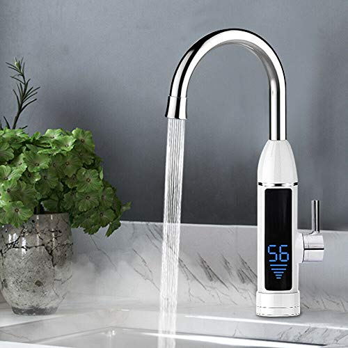 Elektrischer Wasserhahn HaroldDol 3000W Durchlauferhitzer Armatur Spültisch LED Temperaturanzeige Heizung Wasserhahn für Küche und Bad