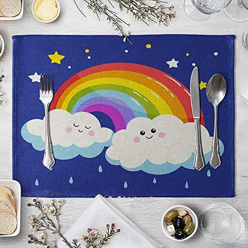 Daesar Placemats Set 2 PCS, Linen Placemats Elegant Cartoon Clouds and Rainbow Blue White Placemats 16x12 Inch