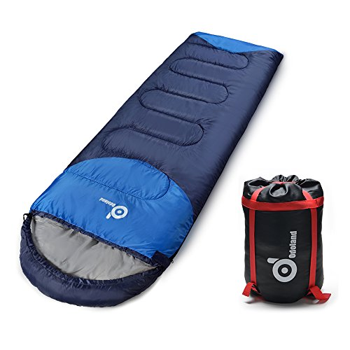 ODOLAND Cool Weather Waterproof Windproof Envelope Sleeping Bag with Compression Bag - Comfort Lightweight Portable Camping Gear for Outdoor Hiking, Traveling and Survival